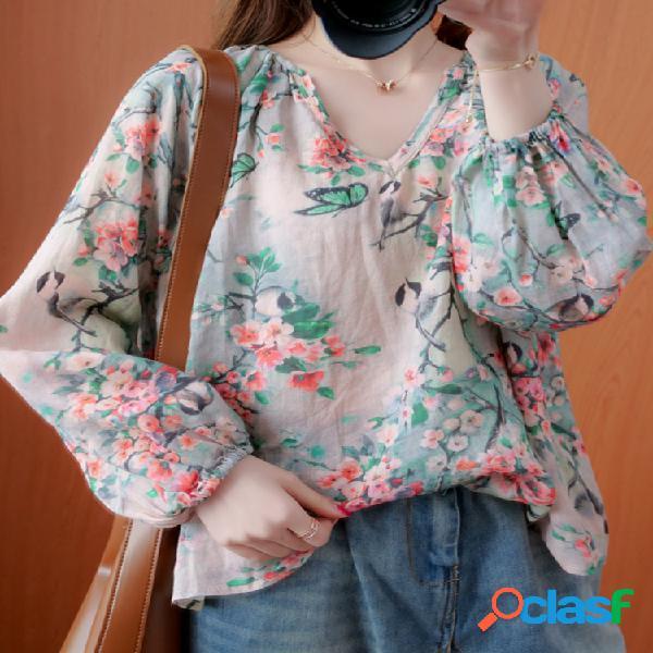 Blusa de manga comprida casual estampada floral com decote em v
