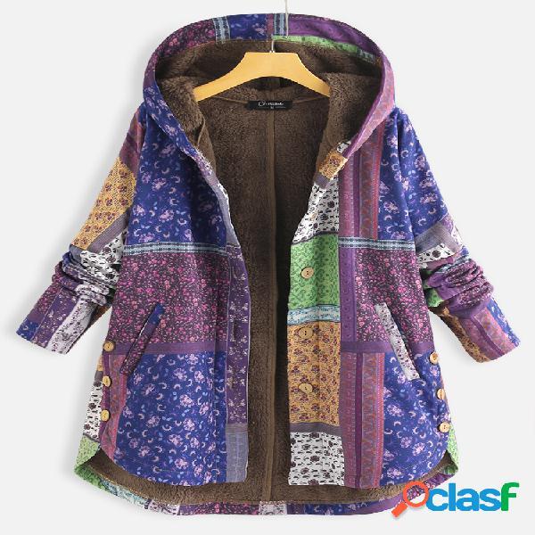 Bohenmia estampa patchwork manga longa com capuz tamanho plus casaco