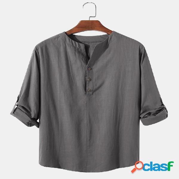 Camisas masculinas de linho de algodão cor sólida com gola casual manga comprida henley