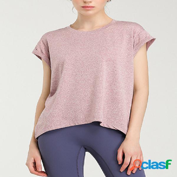 Camiseta de cor sólida manga curta com decote em o nó assimétrico para mulheres