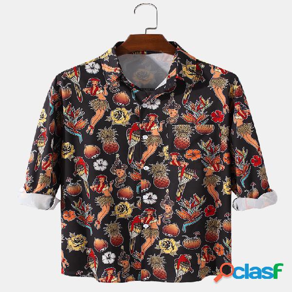 Homens allover fruit figure impressão casual bolso no peito camisas de manga longa