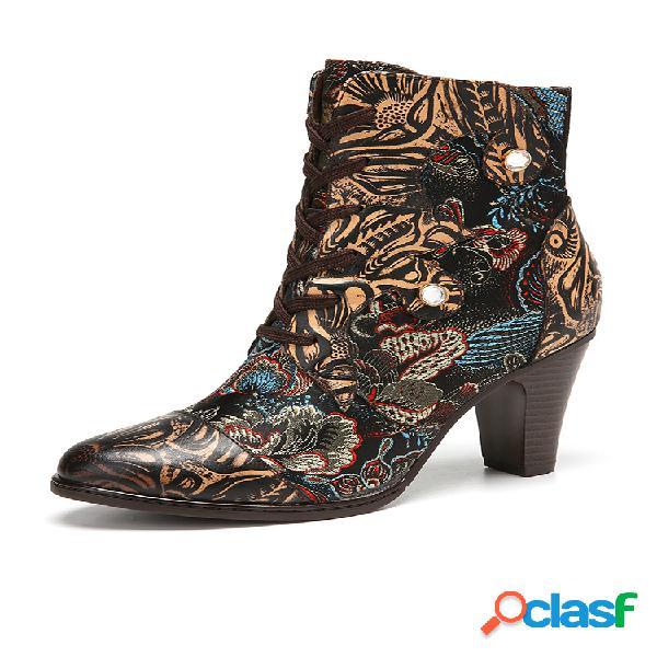 Socofy botas curtas de couro com estampa floral vintage de couro com forro quente com zíper lateral