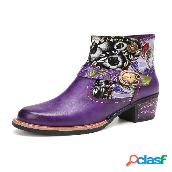 Socofy tecido floral elegante emenda confortável couro genuíno botas para tornozelo de salto grosso vestíveis