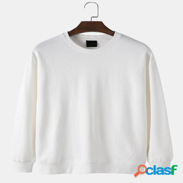 Suéter masculino 100% algodão cor sólida básica casual manga solta