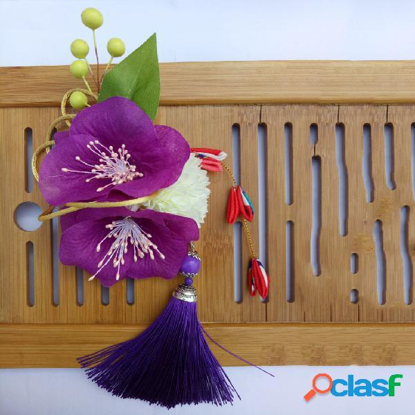 Tecido feminino cabelo acessórios estilo japonês cabelopin corsage
