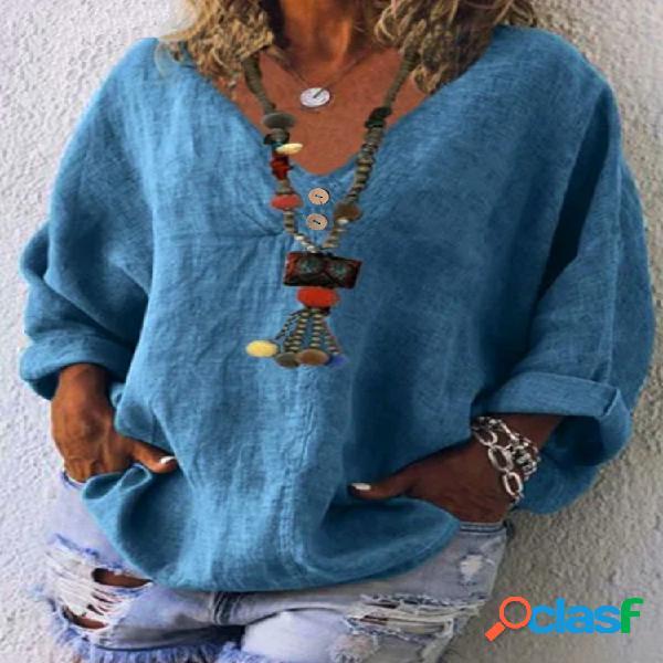 Blusa casual de algodão cor sólida com decote em v