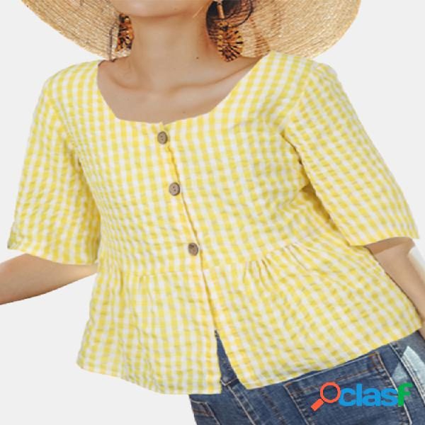 Blusa casual de manga curta com estampa xadrez quadrada