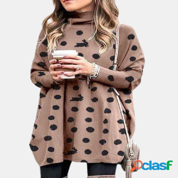 Blusa casual feminina com estampa de bolinhas com gola alta manga comprida