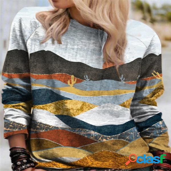 Blusa de manga longa para mulheres com estampa de paisagem com estampa multicolorida