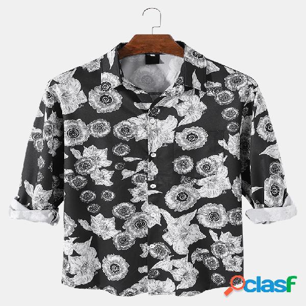 Camisa masculina com estampa floral vintage lapela com botões casuais de manga comprida
