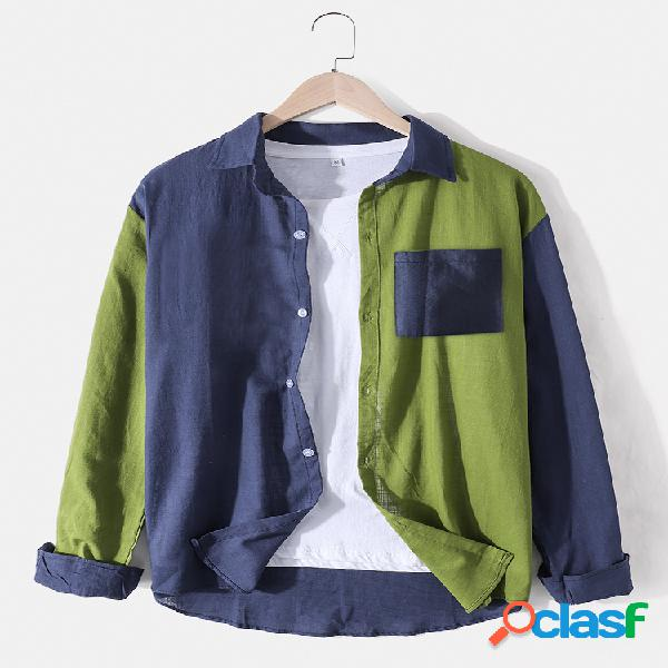 Camisas masculinas de linho de algodão contrastado patchwork solto com bolso no peito camisas de manga comprida