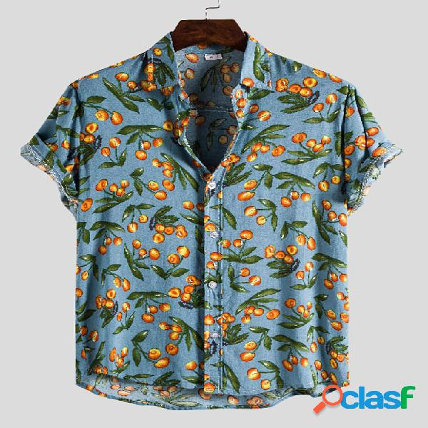 Camisas masculinas de manga curta com gola virada para baixo com estampa de algodão