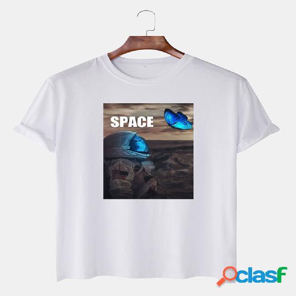 Camiseta masculina de algodão espacial astronauta borboleta estampa gráfica com decote em o casual camisetas de manga curta
