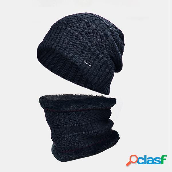 Lã masculina plus grosso inverno manter quente proteção do pescoço à prova de vento malha chapéu