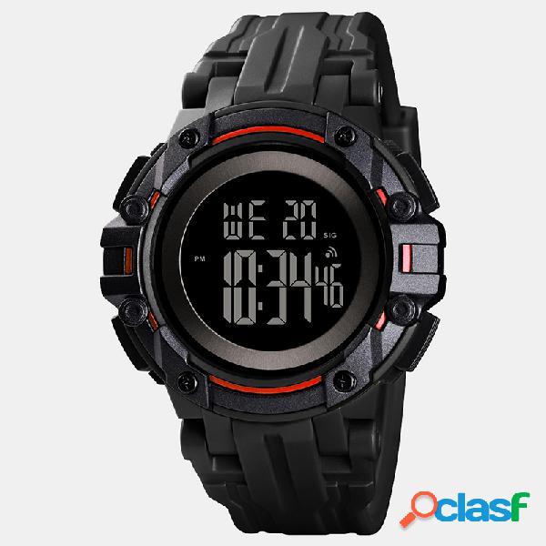Relógio masculino esportivo ao ar livre com pulseira de pu data semana alarme luminoso relógio digital multifuncional