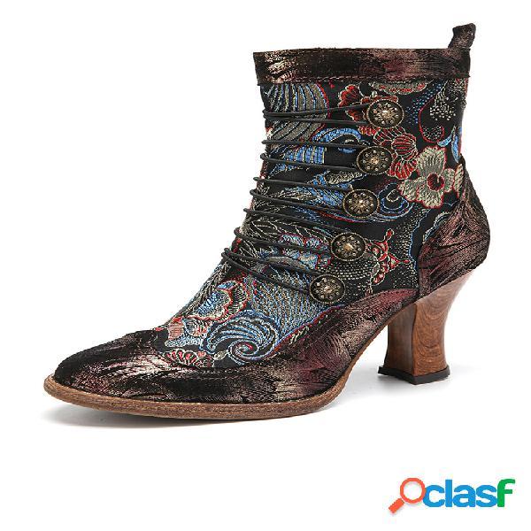 Socofy decoração breasted elegante flores pele de carneiro couro zíper lateral botas curtas salto robusto