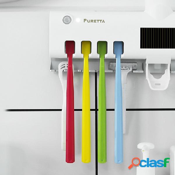 Uv suporte para escovas de dentes para desinfecção pasta de dente com suporte automático para montagem na parede suporte para escova de dentes