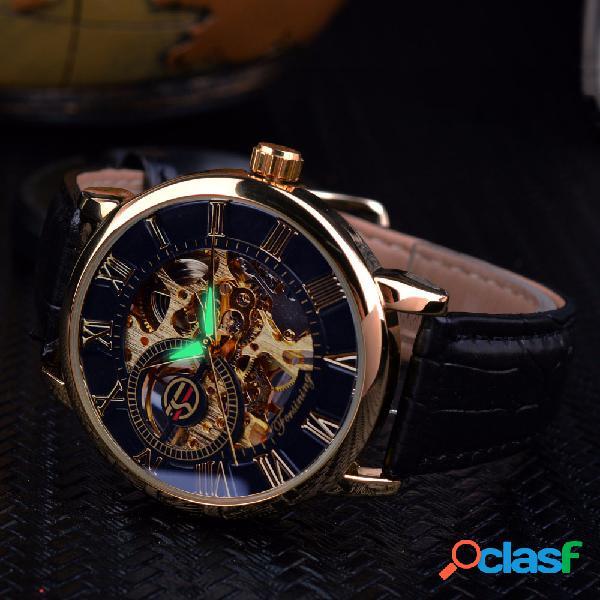 3d hollow engraving design display luminoso moda masculino relógio automático mecânico
