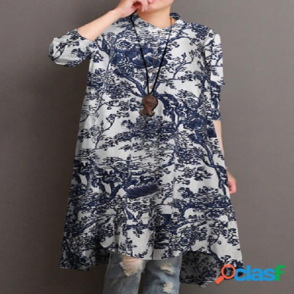Colarinho de suporte étnico estampa manga longa vintage camisa para mulheres