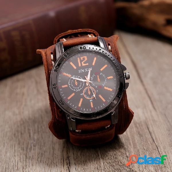 Relógio vintage com pulseira de couro de vaca costurada à mão de dupla camada relógio grande mostrador masculino de quartzo