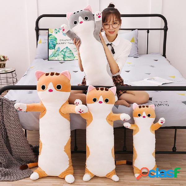 Animal doce gato longo algodão gato boneca brinquedo de pelúcia soft travesseiro de dormir recheado desenho animado recheado boneca