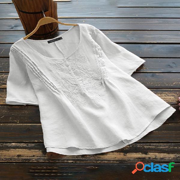 Blusa casual bordada com decote em o de algodão manga curta