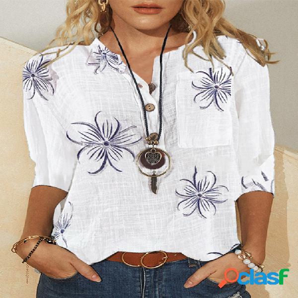 Blusa de manga longa com estampa floral vintage de botão colarinho