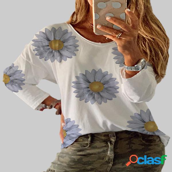 Blusa feminina com estampa flor o-neck manga comprida casual