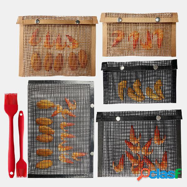 Bolsa para churrasco ao ar livre ferramenta de piquenique antiaderente churrasco bolsa acessórios para churrasco