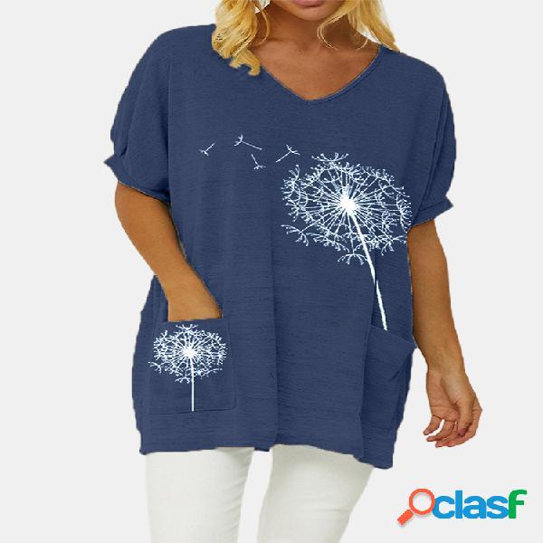 Camiseta feminina com estampa de flores e decote em v de manga curta