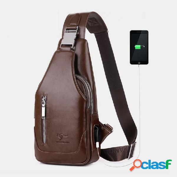 Carregador usb masculino de grande capacidade à prova d'água crossbody empresarial bolsa peito bolsa sling bolsa