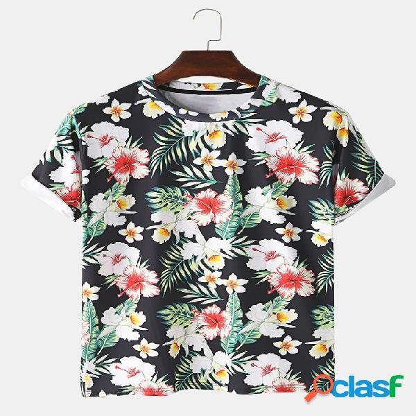 Mens 3d floral impresso em torno do pescoço casual t-shirts de manga curta
