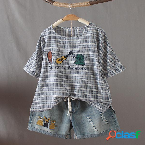 Desenhos animados xadrez bordado o-pescoço manga curta casual t-shirt