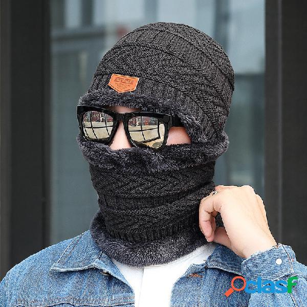 Homem 2 peças de lã plus veludo espesso inverno manter quente proteção do pescoço à prova de vento malha chapéu