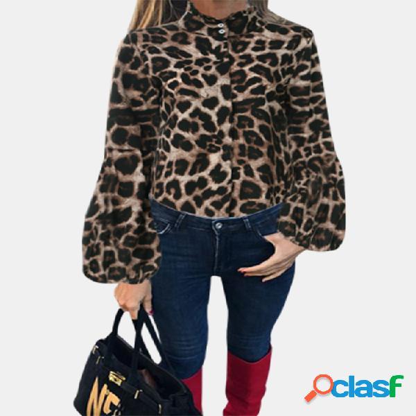 Manga longa com estampa de leopardo plus tamanho camisa