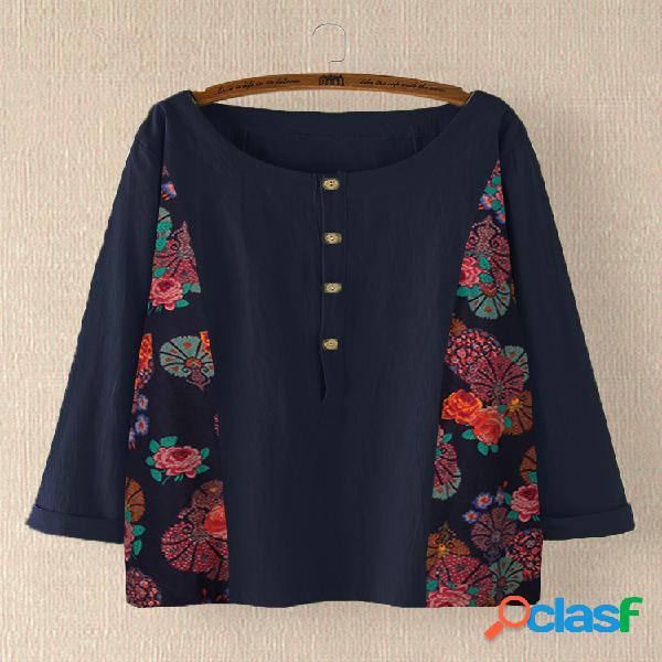 Retalhos de impressão floral vintage plus blusa de tamanho