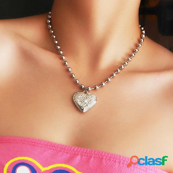 Retro geométrica pêssego coração cadeia de clavícula de metal rosa flor coração pingente colar