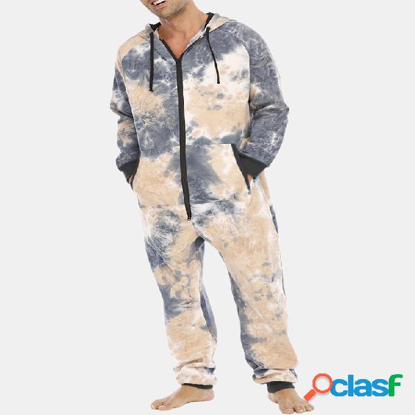 Tie dye algodão esportivo suéter casual com capuz macacão casa canguru bolso roupas loungewear