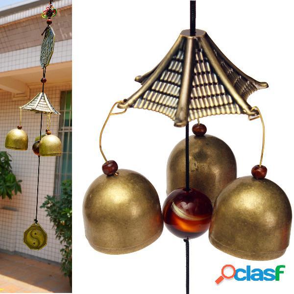 Antique bronze gossip windchime outdoor garden wind chimes três bells home decor