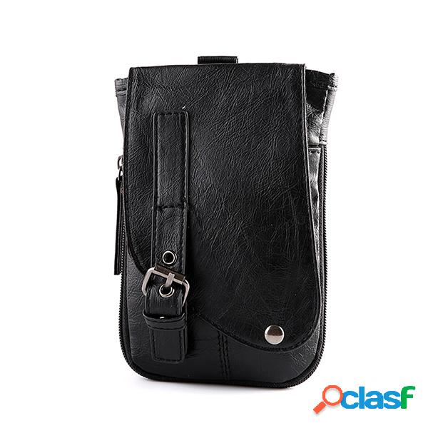 Cinta de couro pu bolsa dual-use telefone bolsa sling negócios bolsa crossbody bolsa para homens