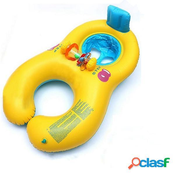 Inflável confortável mãe e bebê nadar flutuador com cadeira assento anel de natação infantil