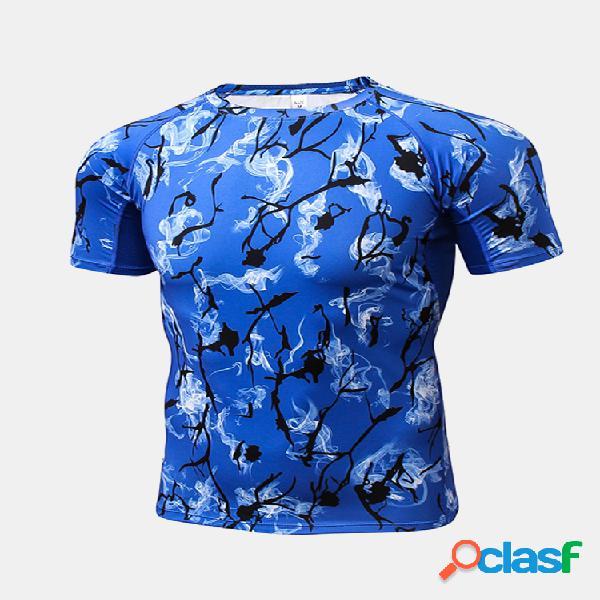 Mens t-shirt elástica de secagem rápida impressa aptidão treinamento skinny fit esporte tops