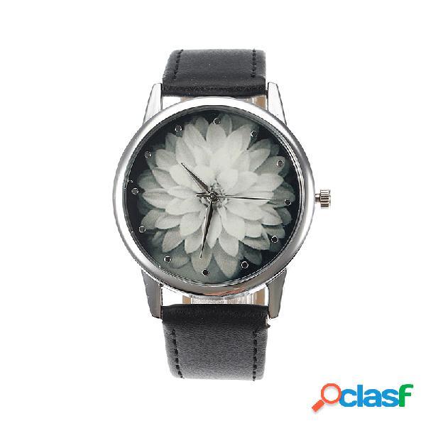 Relógio feminino retro de flores lótus para mulheres