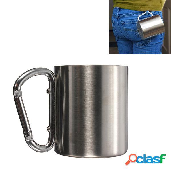 220ml de caneca de aço inoxidável portátil camping cup carabiner double wall