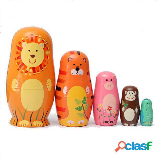 5 pcs bonito bonecas de madeira de assentamento matryoshka animal boneca russa