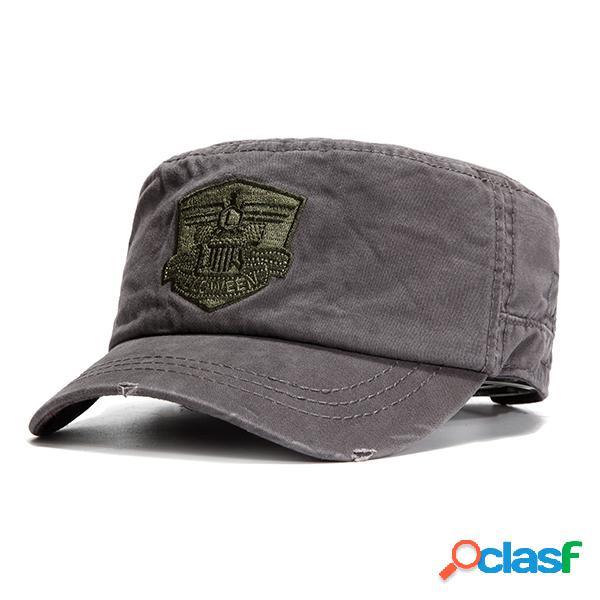 Homens algodão sólido protetor solar chapéu plano treinamento militar ao ar livre capacete de segurança militar ajustável