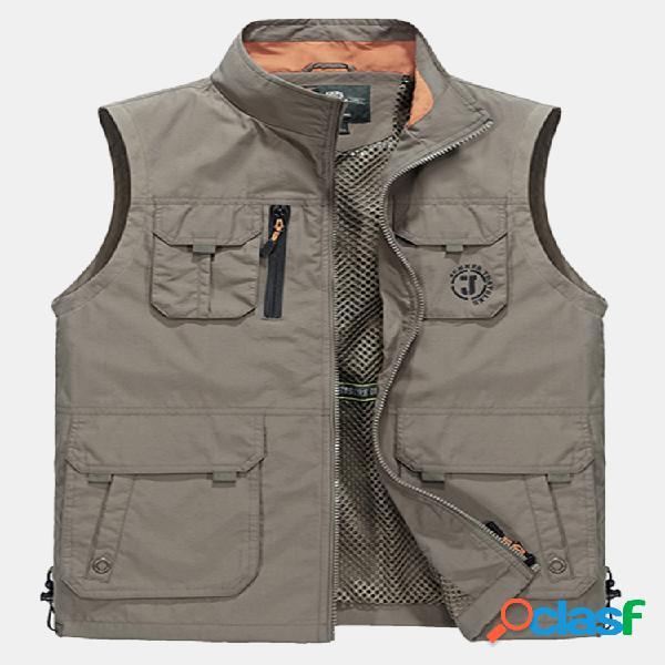 Tamanho grande ao ar livre desporte impermeável fino solto colar padrão veste pescador para homens