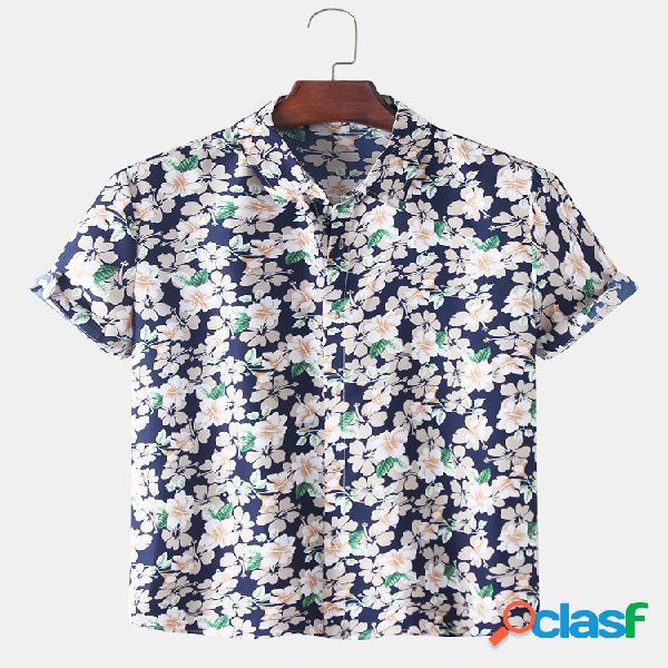 Mens allover floral print casual camisas de manga curta finas, respiráveis e finas