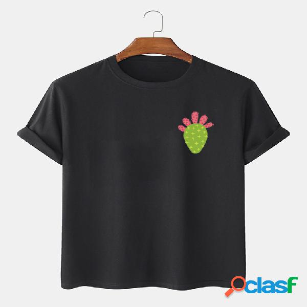 Mens 100% cotton cactus impresso em torno do pescoço casual t-shirts de manga curta