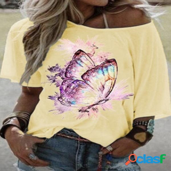 T-shirt de manga curta com estampa borboleta plus